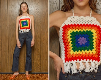 White Summer Festival Handmade Crochet Knitted Rainbow Fringe Square Cut Granny Afgan Acrylic Yarn Embroidered Crop Halter Top XS S M L