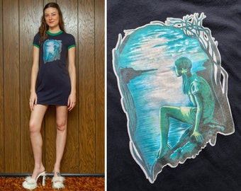 Vintage Iron on Transfer Navy Blue Green Ocean Beach Island Girl Moon Night Moonlight Graphic Short Sleeve Mini Ringer T Shirt Dress XS S