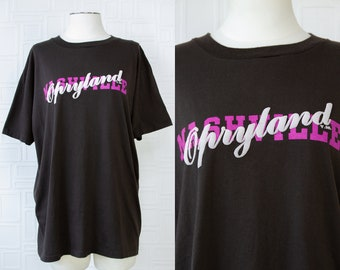Vintage 80s 90s Black Grand Ol Opry Opryland Nashville Tennessee Tourist Novelty Shirt With Purple Grey Puffy Letter Graphic T-Shirt Top XL