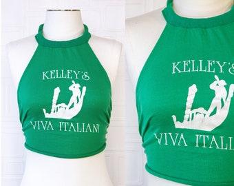 Vintage 80s Kelley's Viva Italian Restaurant Kelly Green White Gondola Italy Tie Back Raw Edge Thin Cotton Halter Sleeveless Tank Top OS S M