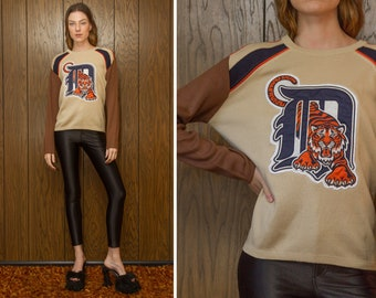 Vintage 80s Meister Navy Blue Brown Orange Tan Raglan Embroidered Detroit Tigers Baseball Pouncing Tiger Patch Striped Long Sleeve Sweater M