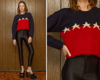 Vintage 90s Hand Knit Wool Patriotic Navy Blue Red Color Block Ivory White 5-Star Star Striped Thick Textured Crewneck Crop Cropped Sweater