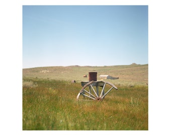 Print Only - Bodie Historic Ghost Town Abandoned California Film Wagon Wheel Bucket Color Grass Landscape Photography Photograph Square