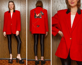 Vintage 90s Black Scottie Dog Terrier Pair Boxy Sequined Back Patch Red Gold Holiday Velvet Collar Shoulder Pad Beaded Button Blazer Jacket