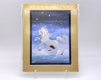 Vintage Night Stars Sky Fantasy Unicorn Foil Etching Art Etched Print Gold Glitter Black Double Mat Ready to Frame in 8x10 Image 7.5 x 5.5
