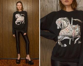 Vintage 80s Jerzees Black Pastel Puff Ink Distressed Carosel Horse Raglan The Wild Side Graphic Novelty Crewneck Long Sleeve Sweatshirt M L