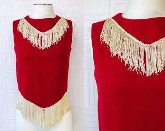 Vintage 60s 70s Red Cream Ivory White Handmade Lined Wool Fringe Majorette Color Guard Sleeveless High Neck Costume Zip Back Vest Blouse Top