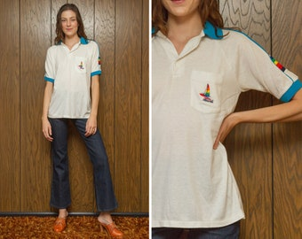Vintage 80s White Teal Blue Rainbow Ringer Embroidered Pocket Hawaii Sailing Boating Striped Button Polo Golf Shirt Short Sleeve Top S M L