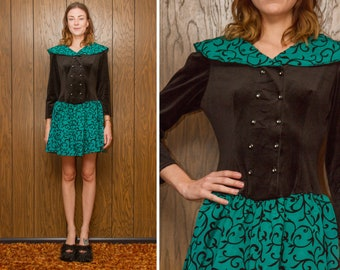Vintage 80s 90s Teal Turquoise Filigree Black Tulle Textured Velvet Collar Drop Waist Long Sleeve Shoulder Pad Mini Baby Doll Dress XS S 5