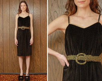 Vintage 80s Black Velvet Velour Gold Tinsel Braided Belted Swim Cover Up Elastic Waist Sleeveless Below The Knee Spaghetti Strap Dress M L