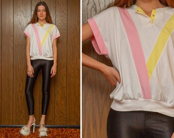 Vintage 80s 90s White Pink Yellow Pastel Color Block Shiny Snap Button Chevron Short Sleeve Crew Neck Shiny Striped Henley Blouse Top L XL