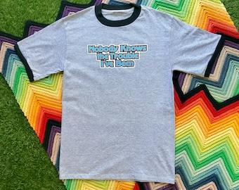 Vintage 90s Deadstock Unisex Gray Black Blue Trouble Ringer Crewneck Heat Transfer Graphic Novelty Thick Cotton Short Sleeve T-Shirt M L