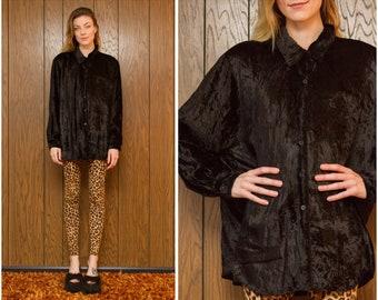 Vintage 90s Elisabeth Liz Claiborne Oversized Crushed Textured Velvet Black Shoulder Pad Button Collared Oxford Blouse Dress Top L XL XXL 20