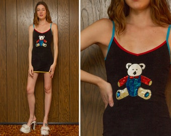 Primary Color Block Black Sequined Beaded Red Yellow Teal Blue White Teddy Bear Applique V Neck Loop Terry Cloth Mini Sleeveless Dress XS S