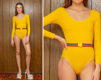 Vintage 90s RARE Gold Yellow Rainbow Elastic Belted Striped LGBTQ Pride Stretch Cotton Lycra Lined Long Sleeve Scoop Leotard Bodysuit S