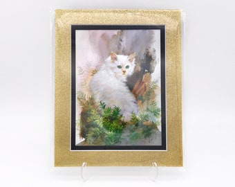 Vintage Long Hair White Kitty Cat Green Eyes Foil Etching Art Print Gold Glitter Black Double Mat Ready to Frame in 8x10 Image 7.5 x 5.5