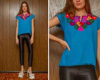 Vintage Teal Blue Red Pink Purple Orange Embroidered Flower Sunflower Mexican Bohemian Guatemalan Oaxaca Frida Kahlo Peasant Blouse Top S M