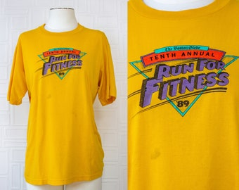 Vintage 80s Aesthetics Mustard Gold Yellow Boston Globe Run For Fitness Exercise Athletic Leisure 1989 Lightweight Jerzees T-Shirt Top L 42