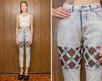 Vintage 80s 90s Acid Wash Fishnet Sheer Mesh Cross Cut Out Blue White Taper Leg Denim High Waist Jean Zip Fly Ankle Short Length 29 Inseam