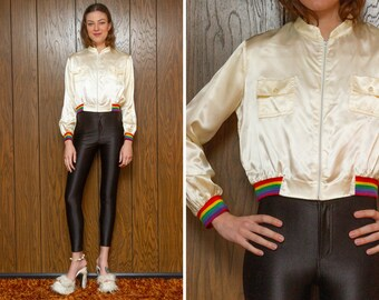 Vintage 70s Ivory Cream White Shiny Rainbow Elastic Trim Double Front Pocket Zip Up Crop Disco Roller Derby Unlined Windbreaker Jacket XS S