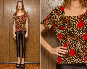 Vintage 90s Kathy Ireland Red Rose Leopard Cheetah Scoop Neck Short Sleeve Valentine Orange Black Brown Flower Print Shirt Top Blouse S M L
