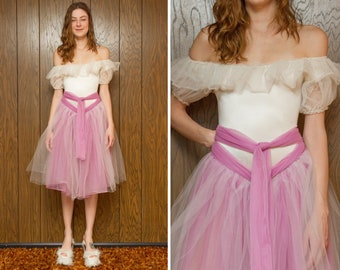09473b8c1f Vintage 80s Mauve Pink Drop Ruffle Shoulder Ballerina Ice Skating Princess  Skirted Leotard Dance Tulle Costume Belted Knee Length Dress XS S