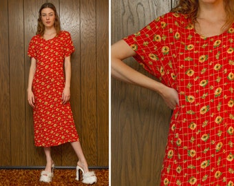 Vintage 90s Red Yellow Sunflower Daisy Flower Floral Pattern Short Sleeve Lightweight Soft Rayon Ankle Length Long Summer House Dress M L XL