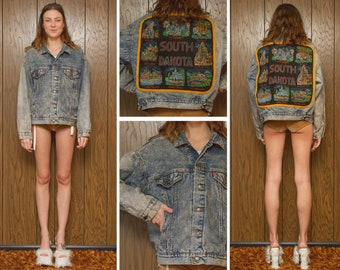Vintage 80s South Dakota Velvet Painted Levi's USA Levis Embroidered Back Patch Acid Wash Denim Jean Buffalo Plaid Button Lined Jacket Coat
