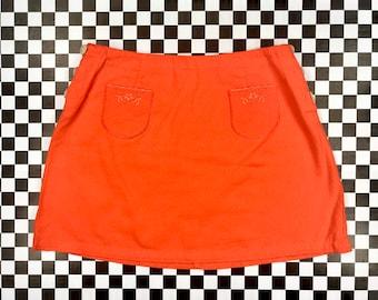 Vintage 90s Espirit Spirit Red Orange Soft Cotton Side Button Up Eyelet Embroidered Front Pocket Preppy Floral Flower Mini Skirt M 7 / 8