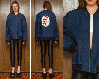 Vintage 70s 80s Embroidered Clown Back Patch Carnie Carnival Dark Cotton Denim Blue Beige Navy Ribbed Cuffed Zip Unlined Bomber Coat Jacket