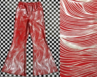 Vintage 90s Y2K Red Lycra Metallic Silver Lame Animal Print Swirl Striped Cropped Bell Bottom Flare Elastic Stretch Waist Capri Pants XS S