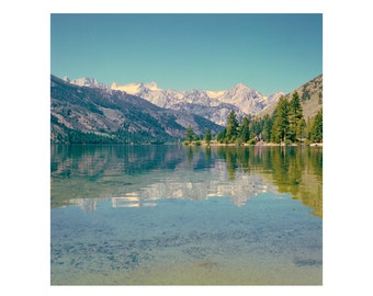 Print Only - Twin Lakes Yosemite Cabin Trees Reflection Bridgeport California Film Color 120mm Landscape House Photography Photograph Square