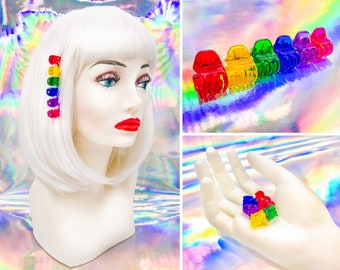 Vintage 90s Y2K Retro Rainbow Cute Mini Claw Plastic Acrylic LGBTQ Pride Rave Kawaii Pink Purple Blue Green Yellow Red Hair Clips Set of 6