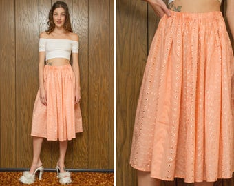 Vintage 70s Peasant Eyelet Embroidered Flower Floral Sheer Shiny Cotton Peach Orange Pink Pastel Below the Knee A Line Circle Skirt XS S M L