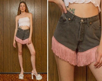 Vintage 90s Levi's Made in USA Dark Gunmetal Gray Cotton Mauve Light Rose Pink Fringed Fringe Hem Button Fly High Waist Cut Off Shorts S M 5