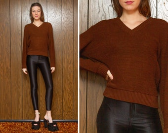 Vintage 70s 80s Campus Chocolate Brown Plush 3-D Textured Loop Terry Knit V Neck Long Sleeve Pullover Lightweight Jumper Sweater fits S M L