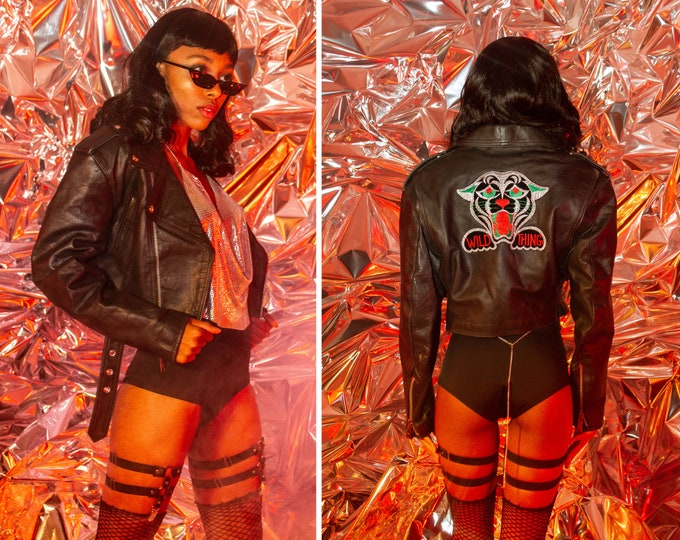 Featured listing image: Vintage 90s Black Leather Silk Embroidered Velvet Panther Red Green Silver Metallic Wild Thing Crop Cropped Lined Motorcycle Jacket XS S M