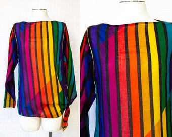 Vintage 70s Dotti Asymmetrical Striped Rainbow Black Gold Metallic Piping Side Tie Tunic Long Sleeve Cover Up Blouse LGBTQ Pride Top Shirt S