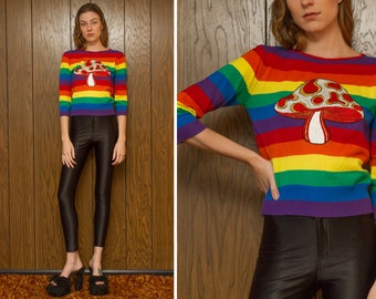 Vintage 70s 80s RARE Mork Mindy Rainbow Psychedelic Mushroom Shroom Striped Metallic Gold Silk Embroidered Patch Sweater Jumper Blouse XS S
