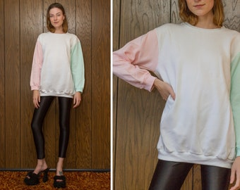 Vintage 80s 90s The Zoo Crew Lightweight Pastel Pink Mint Green White Color Block Long Sleeve Crewneck Tunic Length Sweatshirt S M L XL