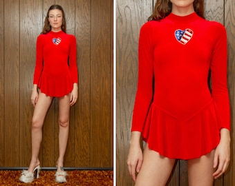 3d73daf3d5cc Vintage 90s Red White Blue USA Heart Patriotic July 4th Asymmetrical Silver  Skirted Long Sleeve High Neck Sequined Hi Lo Leotard Costume S