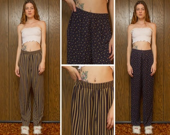 Vintage 90s Navy Blue Tan Taupe Striped Diamond Graphic Pattern Rerversible Double Sided Elastic High Waist WIde Leg Long Trouser Pants S M