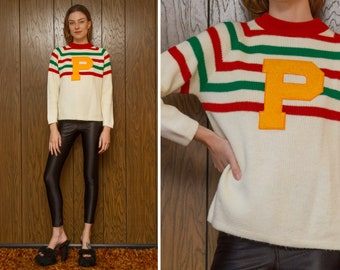 Vintage 60s Red Green Ivory White Striped Yellow P Letterman Pizza Italian Flag Chenille 3-D Embroidered Patch Long Sleeve Raglan Sweater M