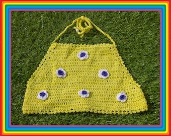 Vintage Deadstock 90s Bright Yellow White Purple LA Lakers Festival Crochet Sheer Mesh Beaded 3-D Flower Cotton Crop Halter Top One Size S M