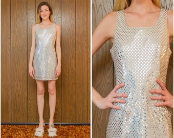 Vintage 90s Angel Clueless Sequin Silver Disco Ball New Years Prom Shiny Sequined Lined Scoop Neck Cocktail Formal Sleeveless Mini Dress S M