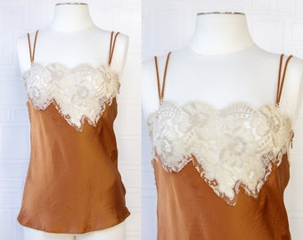 Vintage Y2K Dolce Gabbana Made in Italy Amber Rust Orange Golden Brown Taupe Lace Sleeveless Silk Side Zip Camisole Cami Blouse Shirt Top 44