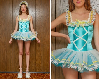 Vintage 90s Pastel Teal Blue White Yellow Shiny TuTu Heart Floral Lace Trim Sequined Dance Dirndl Sleeveless Skirted Leotard Ballet Costume