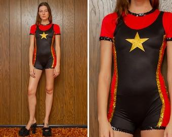 Vintage 90s Black Red Gold Military Star Faux Suspender Biketard Sequined Dance Romper Short Sleeve Onsie Jumpsuit Unitard Recital Costume S
