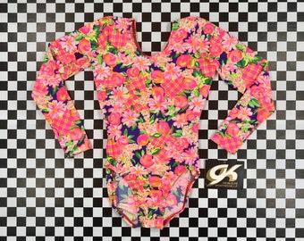 Vintage 90s Neon Rainbow Pink Day Glow Flower Floral Print Elite Sports Nylon Long Sleeve Scoop Aerobic Dance Leotard Bodysuit Swimsuit XS S
