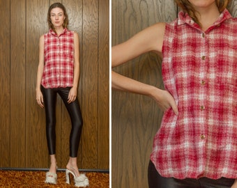 Vintage 90s Red White Plaid Tortoise Sleeveless Oversized Grunge Country Farmer Western Textured Flannel Button Tank Top Collared Blouse S M